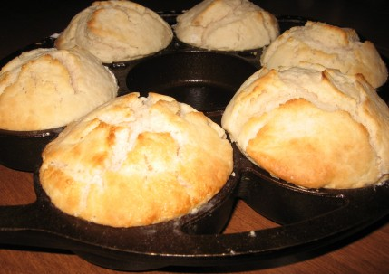 Sourdough biscuits in the cast iron biscuit pan