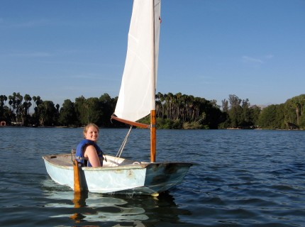 Emily sailing on Lake Evans at Fairmont Park