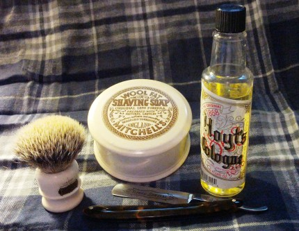 Simpson Super Badger Chubby 1, Mitchells's Wool Fat Shaving Soap, Timore Special razor and Hoyt's Cologne